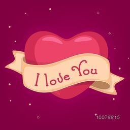 Red beautiful heart with text I Love You on ribbon for Happy Valentine's Day celebration.