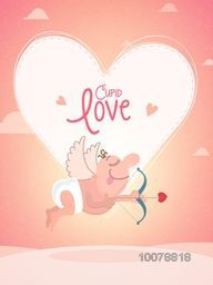 Happy Valentine's Day celebration with funny cartoon of cupid holding bow and arrow, flying on hearts decorated background.