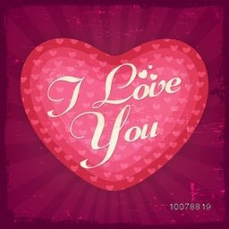 Greeting card design with creative heart and text I Love You on grungy rays background for Happy Valentine's Day celebration.