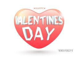 3D stylish text Valentine's Day on glossy colorful heart shaped balloon.