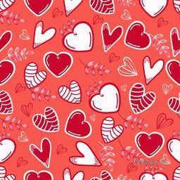 Creative seamless pattern of hearts and leaves for Happy Valentine's Day celebration.