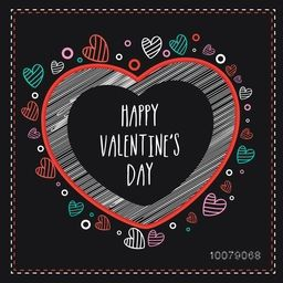 Elegant greeting card design decorated with creative colorful hearts for Happy Valentine's Day celebration.