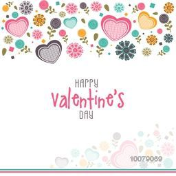 Elegant greeting card design decorated with colorful hearts and flowers for Happy Valentine's Day celebration.