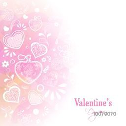 Shiny greeting card design decorated with beautiful hearts for Happy Valentine's Day celebration.