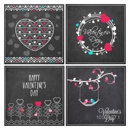 Set of beautiful greeting cards decorated with hearts and floral design for Happy Valentine's Day celebration.