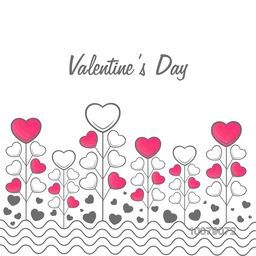 Elegant greeting card design decorated with creative hearts for Happy Valentine's Day celebration.