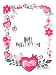 Pink hearts and beautiful floral design decorated greeting card for Happy Valentine's Day celebration.