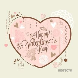 Elegant greeting card design with big pink heart for Happy Valentine's Day celebration.