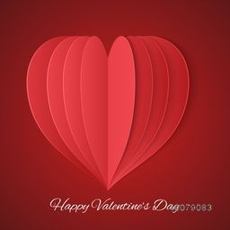 Creative paper heart design on glossy red background for Happy Valentine's Day celebration.
