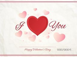 Beautiful greeting card design with text I Love You on hearts decorated background for Happy Valentine's Day celebration.