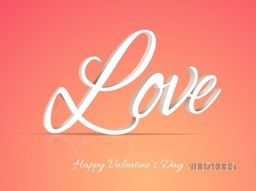 3D text Love on glossy colorful background for Happy Valentine's Day celebration.
