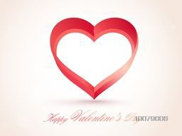 Creative heart on glossy background for Happy Valentine's Day celebration.