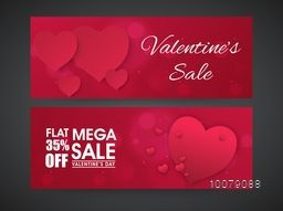 Beautiful glossy hearts decorated elegant Sale website header or banner set for Happy Valentine's Day celebration.