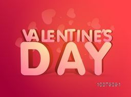 Glossy stylish text Valentine's Day on hearts decorated background.