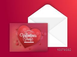 Elegant glossy hearts decorated greeting card with envelope for Happy Valentine's Day celebration.