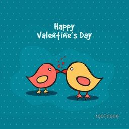 Cute couple of birds in love on stylish background for Happy Valentine's Day celebration.