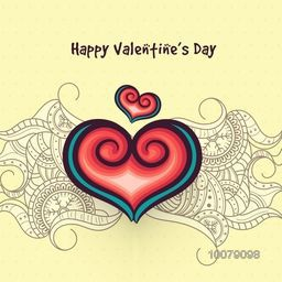 Floral design decorated beautiful greeting card with creative hearts for Happy Valentine's Day celebration.