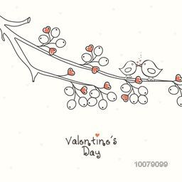 Happy Valentine's Day celebration with cute couple of love bird sitting on hearts decorated tree branch.