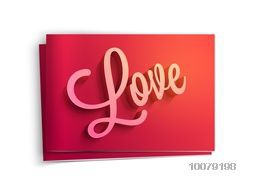 Glossy elegant greeting card design with 3D stylish text Love for Happy Valentine's Day celebration