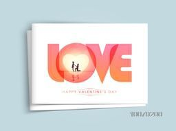Beautiful greeting card design with text Love and young couple for Happy Valentine's Day celebration.