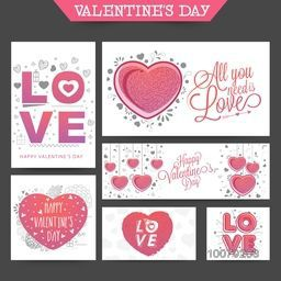 Social Media post and header set with creative typographic collection and hearts for Happy Valentine's Day celebration.
