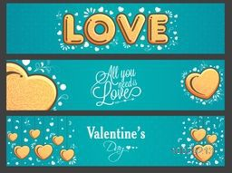 Website header or banner set with creative typographic collection and hearts for Happy Valentine's Day celebration.