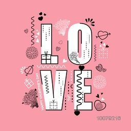 Elegant greeting card design with stylish text Love on pink background for Happy Valentine's Day celebration.