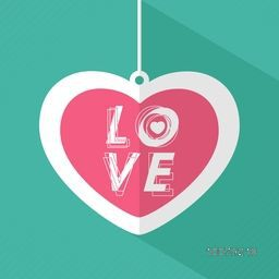 Creative hanging paper heart with stylish text Love for Happy Valentine's Day celebration.
