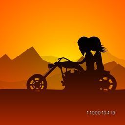 Happy Valentines Day love background with young couples riding on motorbike at sunset. EPS 10.