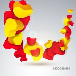 Beautiful St. Valentine's Day background, gift or greeting card with yellow and red hearts on grey, 3D love concept. EPS 10.