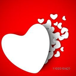 Beautiful St. Valentine's Day background, gift or greeting card with blank paper hearts and space your love message on red background. EPS 10.