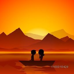 Happy Valentines Day love evening background with silhouette of young couples on boat.