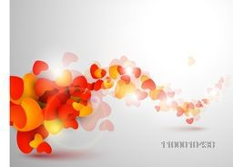 Beautiful St. Valentine's Day background, gift or greeting card with red and yellow hearts shapes, 3D love concept. EPS 10.