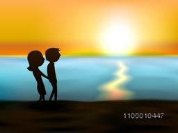 Happy Valentines Day sunset love background with silhouette of young couples holding hands on the sea beach . EPS 10.