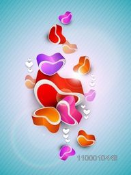 Beautiful St. Valentine's Day background, gift or greeting card with colorful heart shapes on blue, 3D love concept. EPS 10.