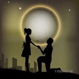 Beautiful St. Valentine's Day night background with silhouette of couples. EPS 10.