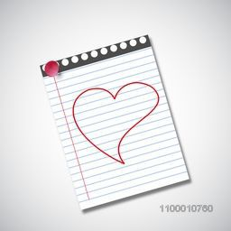 Happy Valentines Day background heart drawn on note book.