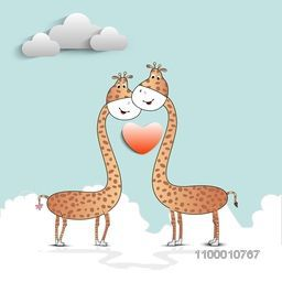 Vector illustration of giraffe couple in love on seamless nature background for Valentines Day and other occasions.