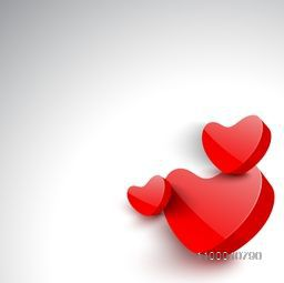 Glossy red hearts on grey background, 3D love concept.