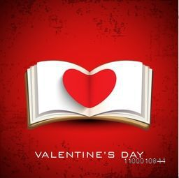 Happy Valentines Day background, gift car or greeting card with fold paper heart in note book.