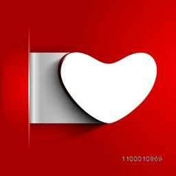 Valentines Day background with sticky in heart shape on red background. EPS 10.