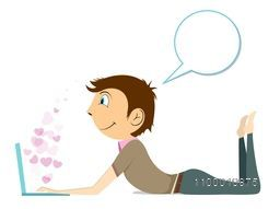 Beautiful St. Valentine's Day background, gift or greeting card with cute little boy chatting on laptop and thinking about love. EPS 10.