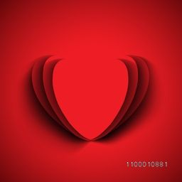 Beautiful Valentine's Day background, gift or greeting card with red paper heart, love concept.