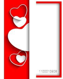 Beautiful Valentine's Day background, gift or greeting card with red and white hearts and blank space for your love message.