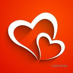 Love concept with hearts on red background.
