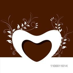 Happy Valentine's Day background with floral decorative heart shape on brown background. EPS 10.