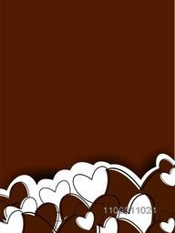 Happy Valentine's Day background with hearts and space for your love message on chocolate brown background. EPS 10.