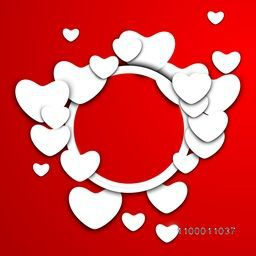 Beautiful Valentine's Day background, gift or greeting card with blank paper hearts  on red background