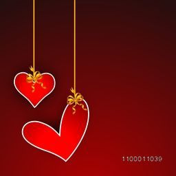Happy Valentine's Day background, greeting card or gift card with hanging hearts on red background. EPS 10.