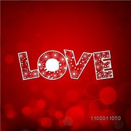 Happy Valentines Day background, greeting card or gift card with floral decorative text LOVE on red background. EPS 10.